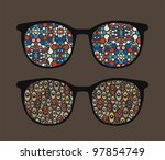 retro eyeglasses with strange... | Shutterstock .eps vector #97854749