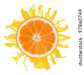 sliced orange splash with juice ... | Shutterstock . vector #97860749