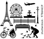 paris street park eiffel tower... | Shutterstock .eps vector #97864619