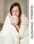 a sick young lady in bed ... | Shutterstock . vector #97868534