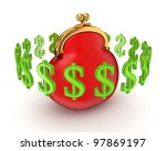 dollar signs around red purse... | Shutterstock . vector #97869197
