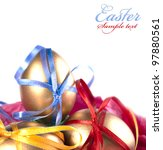 easter eggs  gold egg  isolated ... | Shutterstock . vector #97880561
