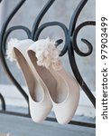 light colored wedding shoes on... | Shutterstock . vector #97903499