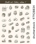 doodle set  cakes  volume 1 | Shutterstock .eps vector #97928834