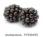 Two blackberries on a white background - stock photo
