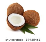 Sweet coconut with leaves - stock photo