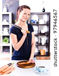 young female cook in the kitchen | Shutterstock . vector #97946567