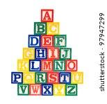 wooden alphabet blocks isolated ... | Shutterstock . vector #97947299