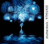 celebratory blue firework in a... | Shutterstock . vector #97951925