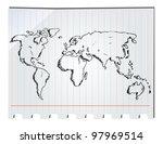 hand drawn world map | Shutterstock .eps vector #97969514