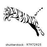 Tribal Tiger Jump   Vector...