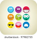 vector style smile face icons | Shutterstock .eps vector #97982735
