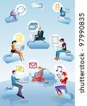 eight character  four men ans... | Shutterstock .eps vector #97990835
