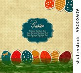 Easter vintage card with eggs and frame - stock vector