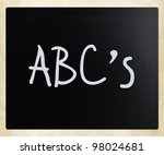 """abc's"" handwritten with white... | Shutterstock . vector #98024681"