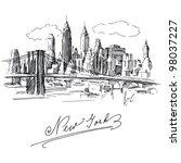 new york   hand drawn metropolis   Shutterstock .eps vector #98037227