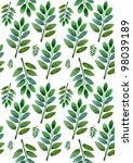 green leaves on a white... | Shutterstock . vector #98039189