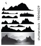 Silhouettes Of Mountain For...