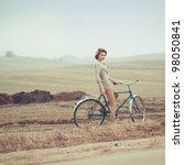 beautiful blonde in a dress on... | Shutterstock . vector #98050841