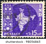 india   circa 1957  a stamp... | Shutterstock . vector #98056865