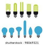 set of green an no saving bulbs ...   Shutterstock .eps vector #98069321