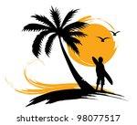 Illustration   Palm Trees  Sun  ...