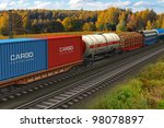 scenic view of mixed freight... | Shutterstock . vector #98078897