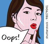 pop art   oops lady vector...