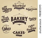 vintage retro bakery badges and ... | Shutterstock .eps vector #98085395