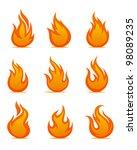 fire warning symbols on white... | Shutterstock .eps vector #98089235