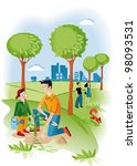 child with his father planting... | Shutterstock .eps vector #98093531