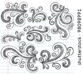 sketchy notebook doodle swirls  ... | Shutterstock .eps vector #98098991