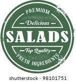 vintage style fresh salad stamp | Shutterstock .eps vector #98101751