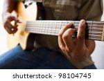 playing guitar f  chord | Shutterstock . vector #98104745