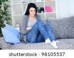 young woman having stomach... | Shutterstock . vector #98105537