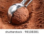 Stock photo chocolate ice cream scoop 98108381