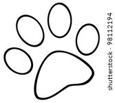 Outlined Paw Print. Vector...