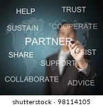 businessman writing partner... | Shutterstock . vector #98114105