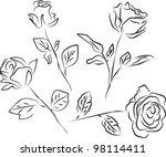 roses silhouette   white... | Shutterstock .eps vector #98114411