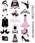 two tone silhouettes of wedding ... | Shutterstock .eps vector #98117741
