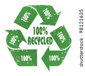 Three-arrow green 100% Recycled symbol with grunge effect - recycle concept - stock photo
