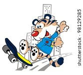 skateboarding tiger vector... | Shutterstock .eps vector #98129285