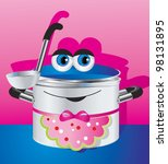 Cheerful children's picture - a happy pan in an apron. - stock photo