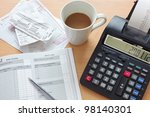 still life bookkeeping photo of ... | Shutterstock . vector #98140301