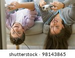 two teenagers upside down on... | Shutterstock . vector #98143865