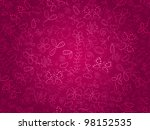 Stock vector seamless doodle floral pattern background with flower and butterflies on pink backdrop eps 98152535