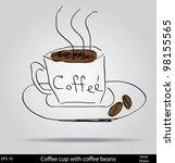 coffee cup doodle sketch... | Shutterstock .eps vector #98155565