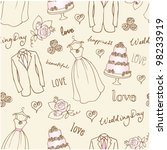 wedding doodles sketchy... | Shutterstock .eps vector #98233919