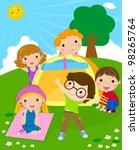 kids and tent | Shutterstock .eps vector #98265764