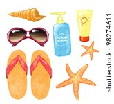 shell  sunglasses  starfish ... | Shutterstock . vector #98274611